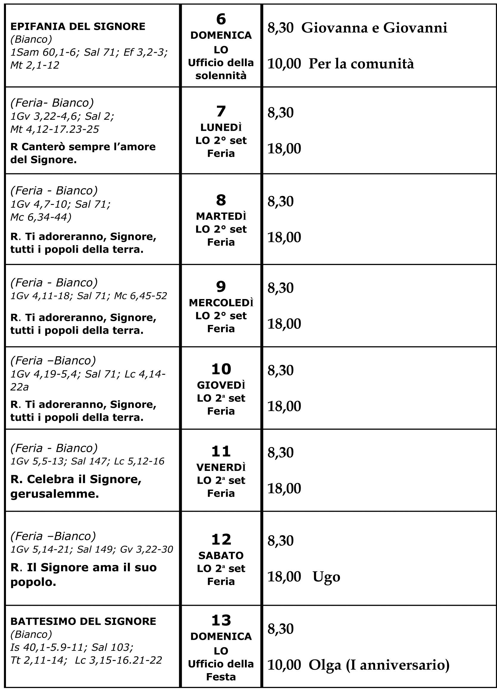 calendario liturgico 06-01-19