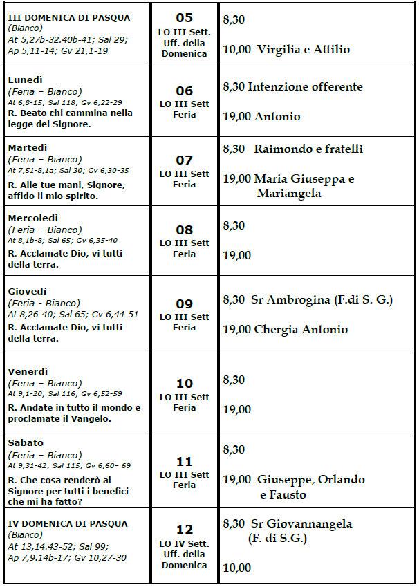 calendario liturgico e pastorale 05-05-19