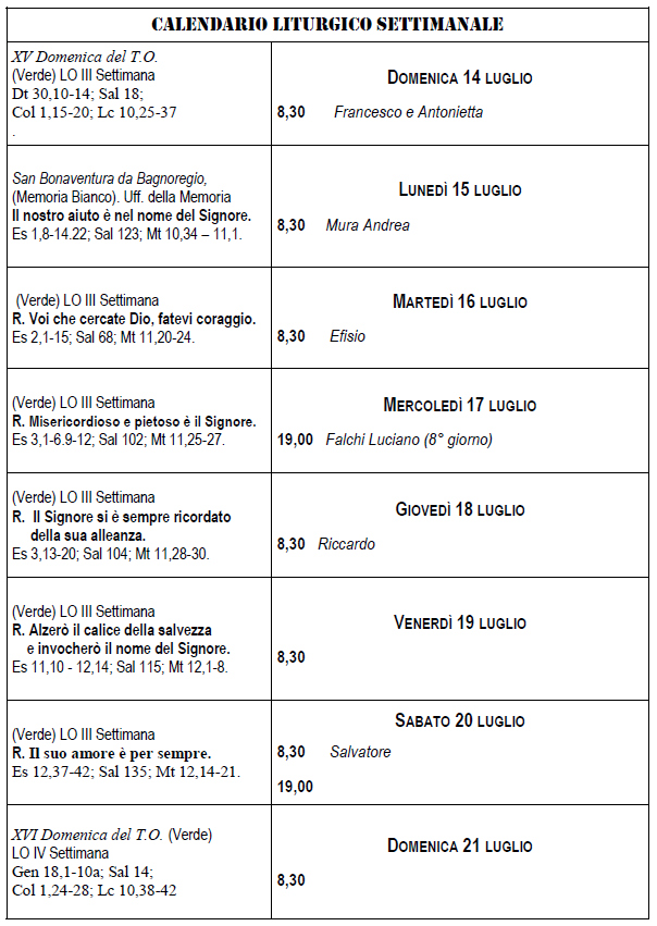 calendario liturgico e pastorale 14-21-07-19