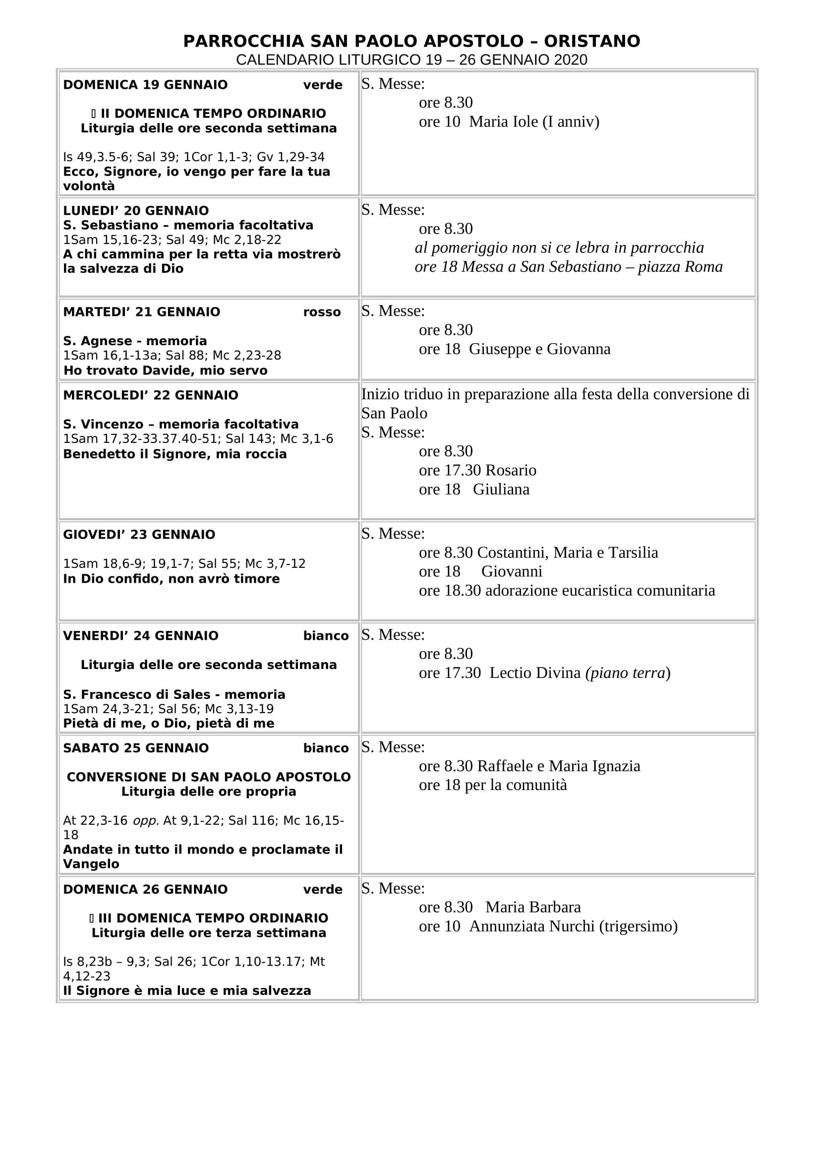 calendario liturgico 19-26 gennaio