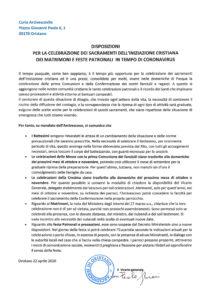 disposizioni vescovo sacramenti coronavirus
